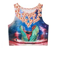 beauty pizza - YNM dinosaur eating pizza tank tops d space galaxy sexy female elastic cropped beauty slim fitness hispter crop top brand vest