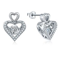 Wholesale Hot shopping Fashion Jewelry Beautiful Classic Heart Shape Sterling Silver Stud Earrings With Cubic Zirconia For Ladies Party DE35210D
