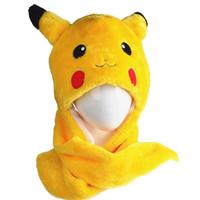 Wholesale Pokmon Go Pikachu hats Cotton Cartoon Plush Toys Beanie Animal Christmas Present Plush Winter Hat Caps