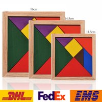 Wholesale Colorful Tangram Children kids Wooden Jigsaw Puzzle Educational Toys for Kids intellectual Building Blocks Mental Development Toy WX T22