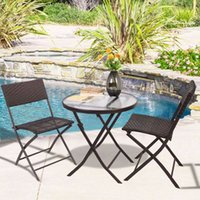 Wholesale GOPLUS Patio Furniture Folding PC Table Chair Set Bistro Style Backyard Ratten