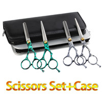 Wholesale 6 Professional Salon Barber Stainless Hair Cutting Thinnig Scissors Shear Hairdressing Set With Leather Case