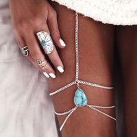 Wholesale 1 pieces Women s Fashion Accessories Bohemian seaside resort teardrop shaped tassel leg chain anklets Turquois vintage jewelry