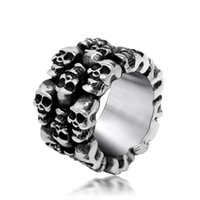 Wholesale Hot Steel Soldier Stainless Steel Men Punk Skull Ring Vintage Domineering Skull Titanium Steel Jewelry TX