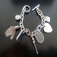 Wholesale charms bracelets padlock Key love heart crystal pendants charms brand jewelry for men women silver gold