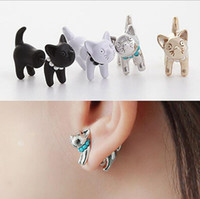 Wholesale 3D Pearl Kitty Cat Cute Stud Earrings set for Women Girl Animal Piercing White Black Gold Silver Colors