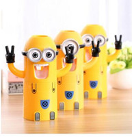Wholesale EMS free New Cute Despicable Me Minions Set Cartoon Toothbrush Holder Automatic Toothpaste Dispenser