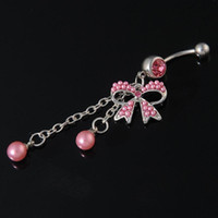 Wholesale 316L Steel Rhinestone Butterfly Ball Button Barbell Bar Belly Navel Ring Body Piercing