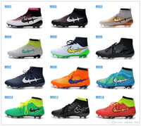 Wholesale 2016 Cheap New Mens Football Boots Magista Obra FG High Top Soccer Cleats High Ankle Soccer Shoes Magistas Black Volt Sports Football Shoes