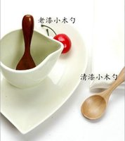 Wholesale Wooden Tea Spoons Creative Nanmu Tableware Coffee Milk Powder Spoons Baby Dinnerware cm Environmental Protection Safe Kid Spoon Kitchen