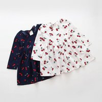 baby clothing items - Newest Item spring and autumn girl dress cherry print baby girl dress children clothing kids Long Sleeve dress