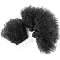 Wholesale 3 Bundles Indian Virgin Hair With Closure Top Quality Afro Kinky Curly Hair New Arrival hair weft and closure in stock