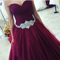 belted silk dress - Sweetheart Neck Prom Dresses Ruffles Simple Dark Red with Exquisite Belt Dubai Middle East Style Chiffon Evening Gowns