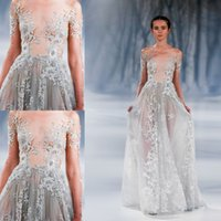 applique patterns - See Through Off Shoulder Neck Evening Dresses Lace Appliques Illusion Long Sleeves Zipper Prom Dresses Paolo Sebastian Sexy Evening Gowns