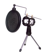 adjustable computer stands - Top Quality Adjustable Studio Condenser Microphone Stand Microhone Holder Desktop Tripod for Microphone with Windscreen Filter Cover