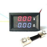 Оптово-DC 100V 100A Вольтметр Амперметр с 100A шунт 2в1 DC Volt Amp Двойной дисплей приборной панели Красный Синий цифровой светодиодный