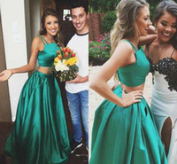 Cheap 2017 New Hot Two Pieces Prom Dresses Long Spaghetti Top A Line Floor Length Skirt With Pockets Green Evening Party Wear