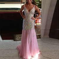ab straps - Spaghetti Straps Deep V neck AB Stones Beading Prom Dress Bling Bling Mermaid Evening Dress Open Back Pageant Dresses