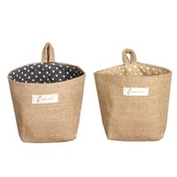 amazing basket - Happy home Amazing Polka Dot Small Storage Sack Cloth Hanging Non Woven Storage Basket