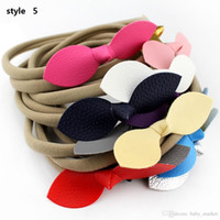 ribbons and bows - 5style available quot Mini Glitter Leather Bow Nylon Headband Leather Bows Baby Headbands Girls And Kids Nylon Hair Accessories