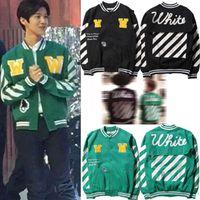 baseball outerwear - OFF WHITE C O Trend Fashion Bomber Jackets Men Women Street Skateboard Baseball Uniform Brand Clothing Outerwear Hip Hop Coats