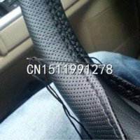 artificial leather car seat cover - 1pcs Black DIY Car Steering Wheel Cover With Needles and Thread Artificial leather cover seats for cars