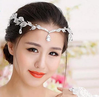 Wholesale 1 Piece Silver Crystals Rhinestones Leaves Head Chain Jewelry Forehead Headpiece Bride