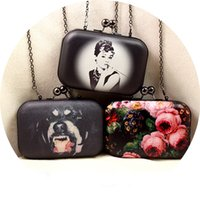 audrey hepburn purse - Vintage Women Evening Clutch Bags Flowers Audrey Hepburn Cartoon Printing Hand Bag Mini Leather Clip Brand Party Purse XA267H