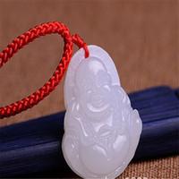 Wholesale Singapore Hetian Jade - White 100% Natural A Hetian Jade jadeite pendant Happy Buddha with Free Necklace
