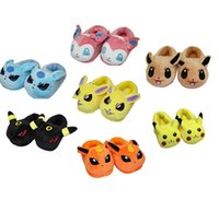 ball slippers - Poke Figures cotton Warm slippers shoes children cartoon Pikachu Squirtle Charmander Poke Ball Sylveon slippers shoes toy HHA1034