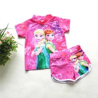 baby sun protection swimwear - Frozen anna and elsa swimsuit baby girls Rash guard trunk sun protection anti uv swimwear beach swim UPF protection printed swimwear sets