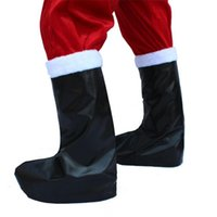 Wholesale Santa Boots Decorations - Unisex Christmas Santa Claus Boots Top Cover Christmas Decorations Black Leather Santa Claus Boot Covers Cosplay Costume