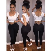 Wholesale Fashionable Summer Sexy pieces Casual Sport Short Sleeve White Top Black Pants Solid Sets Suits Q111