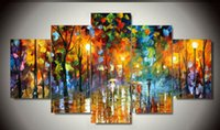 afremov prints - 5 panel modern art Beautiful Leonid Afremov Painting Wall Art palette knife Oil Painting Print on Canvas