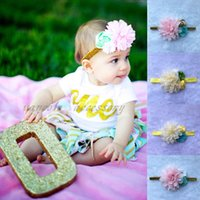 Wholesale Baby Elastic Headband Toddler Headdress Infant Pearl Lovely Children Hot Sale Flower Girl Rhinestone Chiffon Stin Flower Hair Accessories BM