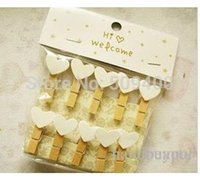 Wholesale Cute Love Heart Wooden Clothes Photo Paper Peg Pin Clothespin Craft Clips cm white