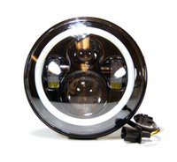 LED light Left Right IP67 7 Inch Round LED Headlight White Halo For Harley Davidsion Motorcycle Jeep LJ TJ Daymaker Angel Eye