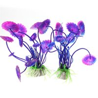 Wholesale Hot Plastic Purple Artificial Aquarium Decorations Plants Fish Tank Grass Flower Ornament Decor Aquatic Animals Accessories