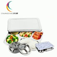 Wholesale Hot Deepen thick stainless steel sub grid five extra dribbling lunch plates with cover box cotton