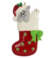personalized ornaments - Maxora Kitty Cat Dog Stocking Glossy Polyresin Hand Painting Personalized Christmas Tree Ornaments Used For Holiday Keepsake Gifts and Home