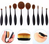 Wholesale 2016 most popular oval shaped black handle nylon hair toothbrush shaped makeup brush set set