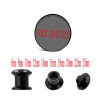Wholesale fashion body jewelry custom black acrylic ear piercing gauges body jewelry ear plugs tunnels making supplier mm