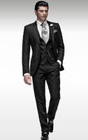 beads acetates - Sell like hot cakes New Style Black Groom Tuxedos Two Buttons Best Man Peak Lapel Wedding Suits Bridegroom Jacket Pants Tie Vest