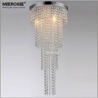3 luces araña de cristal de tamaño largo del lustre luz del dormitorio del pasillo del pórtico iluminación del vestíbulo de Cristal Lustre Adecuado para bombillas LED