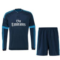 Wholesale Thai quality long sleeve jerseys Real Madrid second away kits Bale Ramos Ronaldo FC Bernabéu soccer jersey football shirt suit
