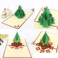 Wholesale 10pcs D Christmas card artificial christmas tree postcard Christmas decorations Christmas party supply Christmas gift cards