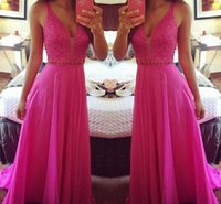 beaded panels - Sexy Fuchsia Evening Dresses Plunging Sleeveless Beaded Peplum Prom Dresses Sweep Train Chiffon Panels Custom Made Formal Party Gowns