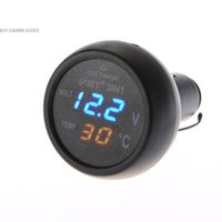 ac thermometer - New Style Red Green Digital Voltmeter Thermometer Cigarette Lighter USB Car Charger in1