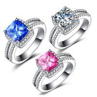 Wholesale 10PCS rhodium plated ring four claw square one karat diamond wedding ring simulation female minimalist Korea jewelry