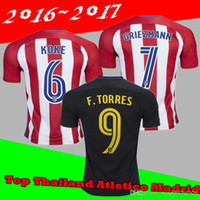 Wholesale 3AAA Thailand version Atletico Madrid Home Away Jersey GODIN KOKE GRIEZMANN F TORRES best quality shirt